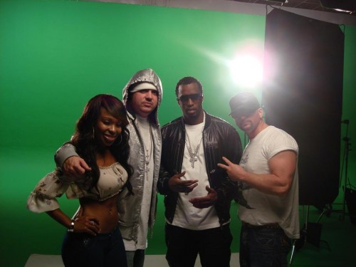 Dancer Porsha (left), DJ Felli F el, Diddy, Dale 'Rage' Resteghini (Right)