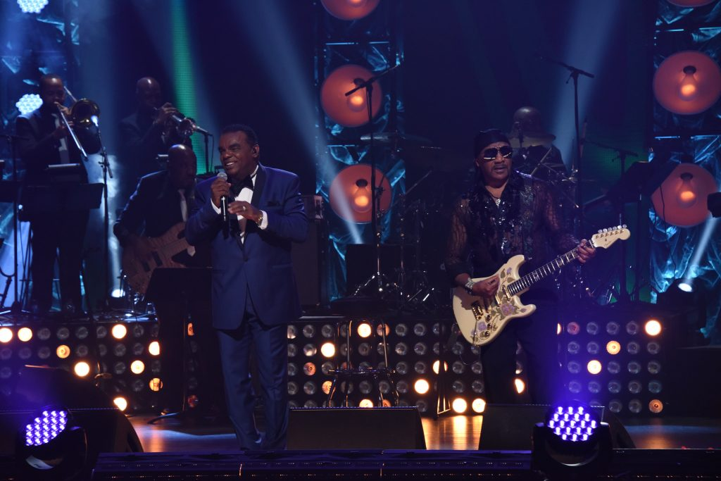 L-R: The Isley Brothers, Ronald Isley, Ernie Isley during the OWN At The Apollo Concert Series, held at the Apollo Theater in Harlem, New York, Thursday, August 20, 2015. Photo by Jennifer Graylock-Oprah Winfrey Network