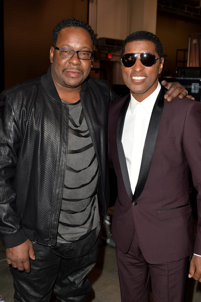 "LAS VEGAS, NV - NOVEMBER 06: Recording artist Bobby Brown (L) and honoree Kenneth ""Babyface"" Edmonds attend the 2015 Soul Train Music Awards at the Orleans Arena on November 6, 2015 in Las Vegas, Nevada. (Photo by Earl Gibson/BET/Getty Images for BET)"