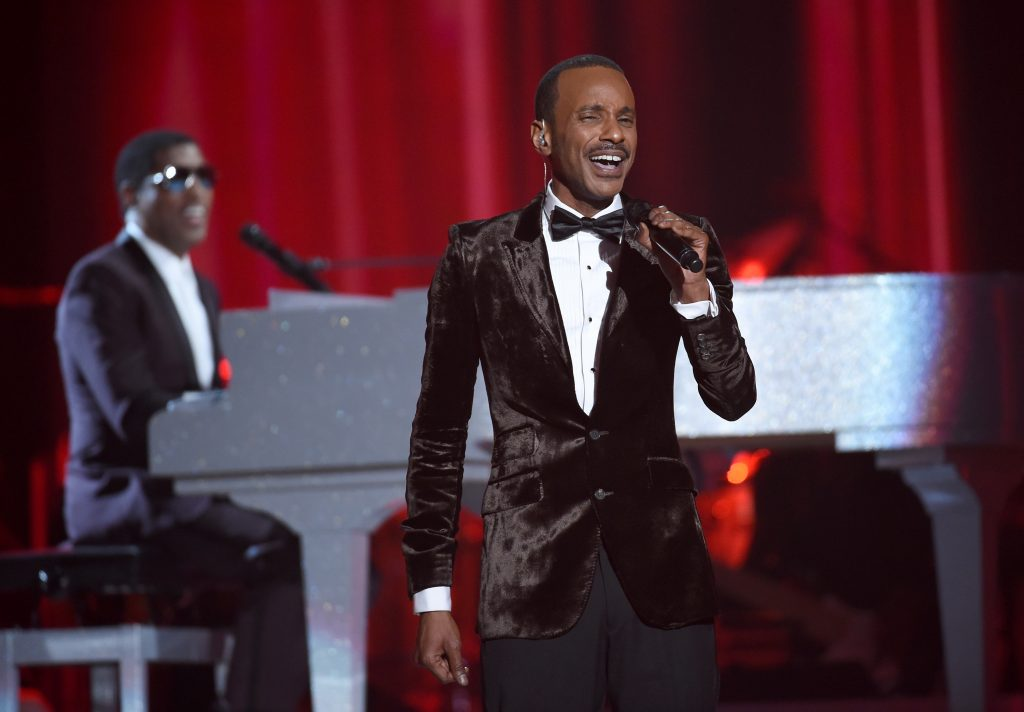 "LAS VEGAS, NV - NOVEMBER 06: Honoree Kenneth ""Babyface"" Edmonds (L) and singer Tevin Campbell perform onstage during the 2015 Soul Train Music Awards at the Orleans Arena on November 6, 2015 in Las Vegas, Nevada. (Photo by Ethan Miller/BET/Getty Images for BET)"