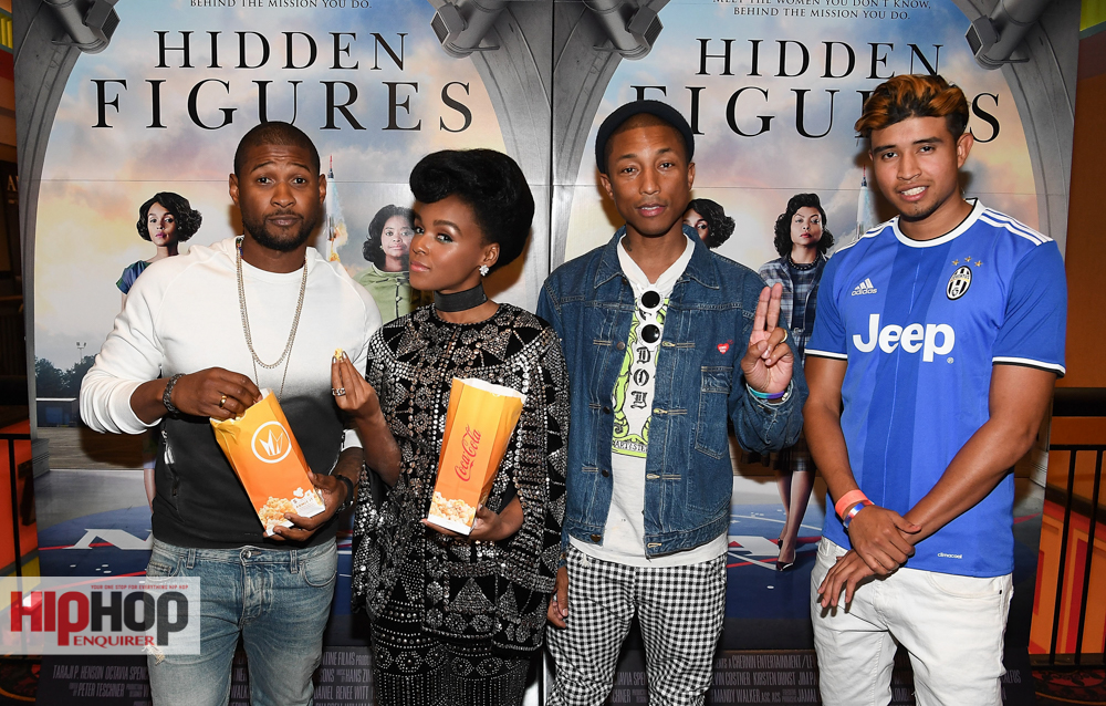 """ATLANTA, GA - NOVEMBER 16: (L-R) Usher Raymond, Janelle Monae, Pharrell Williams, and Kap G attend """"Hidden Figures"""" advanced screening hosted by Janelle Monae & Pharrell Williams at Regal Cinemas Atlantic Station Stadium 16 on November 16, 2016 in Atlanta, Georgia. (Photo by Paras Griffin/Getty Images for 20th Century Fox)"""